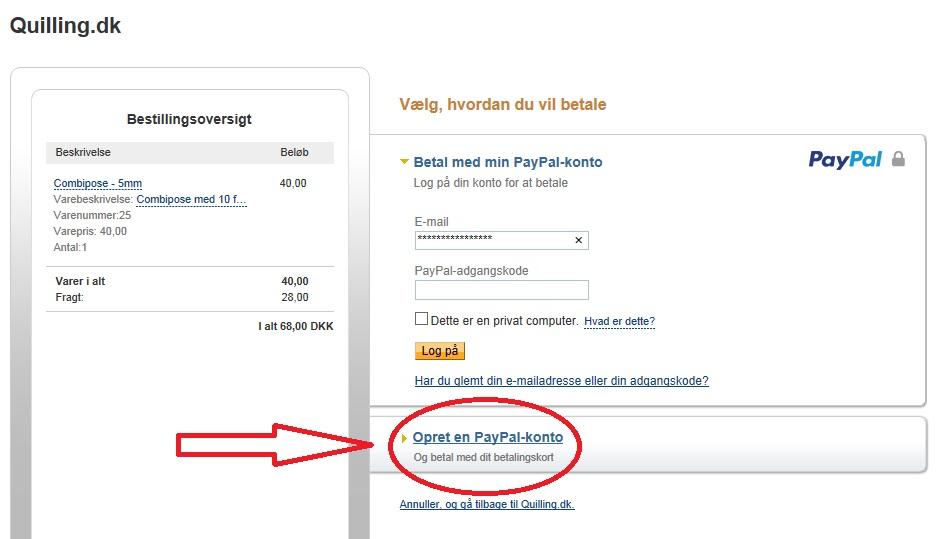 Brug kredikort på PayPal